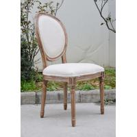 Classic Solid Wood Oak Fabric Dining Chair French Vintage Upholstered Fabric Side Chair for Hotel