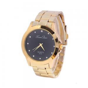 Quality Golden Alloy Black / White Dial Mens Quartz Watches Business Type Geneva Quartz for sale