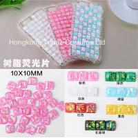 Wholesale Neon flat back acrylic resin stone square10mm fluorescent color non hot fix rhinestone from china suppliers