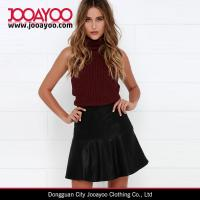 Wholesale Women A-line High Waisted Black Vegan Leather Trumpet Mini Skirt from china suppliers