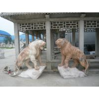 Quality Pink marble lions sculpture with base for sale