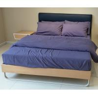 Wholesale Stable wood frame bed with upholstered headboard and wood slat from china suppliers