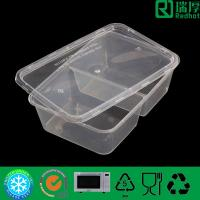 Two Compartment plastic food container / divided clear lunch box 650ml