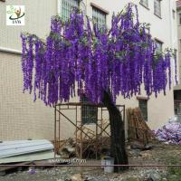 Wholesale UVG latest 17ft tall purple silk wisteria blossoms artificial flower trees for wedding stage decoration WIS018 from china suppliers