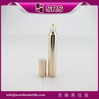 Wholesale 15ml 17mm diameter metalized rose gold glass bottle with real gold ball and aluminum cap. from china suppliers