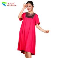 China Custom Color Chinese Linen Dress , O - Neck Ladies Linen Dresses With Sleeves for sale