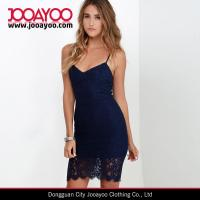 Wholesale Sexy V-neck Adjustable Straps Navy Blue Lace Bodycon Mini Dress from china suppliers
