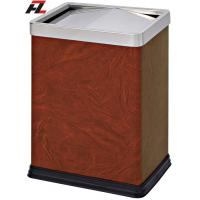 Wholesale Leather-wrapped Room Trash Bins with Removable Cover from china suppliers
