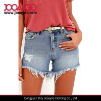 Quality Girls Hot Short Designs Medium Wash Distressed Frayed Hems Denim Shorts for sale
