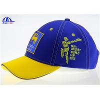 Wholesale Cotton 6 Panel Blue and Yellow Baseball Sandwich Caps With Flat Embroidery Sri Lanka Logo from china suppliers