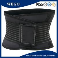 Wholesale WG-LS007 Black Deluxe Neoprene Elastic Lumbar Lower Back Pain Brace Belt with Customized Silicone Logo from china suppliers