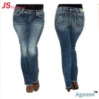 Stretch Embroidery Ladies Jeans Pant Light Washed Casual Style