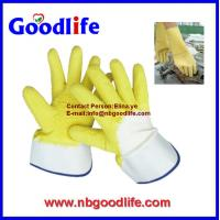 Wholesale L1012 latex Gloves withJerry liner yellow latex crinkle from china suppliers