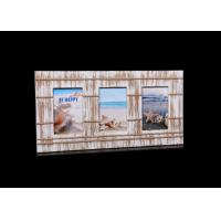 Quality Vintage Style 4x6 Wood Photo Frames Decorated With Hemp Ropes , 1.5mm Thickness Glass for sale