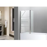 Quality Bathtub Frosted Glass Shower Screen Three Stripes Pattern Chrome Towel Rack for sale