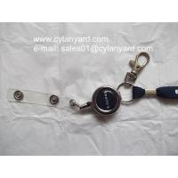 metal badge pull reel lanyard with plastic strap