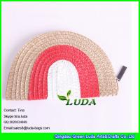 Wholesale LUDA hot sale ladies semi round striped pp straw clutch bag from china suppliers