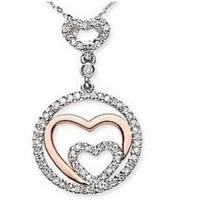 Wholesale Two Tone Gold Diamond Interlocking Heart Pendant from china suppliers