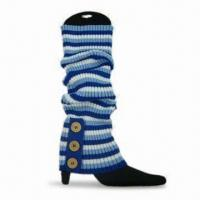 Wholesale Striped Legwarmers with 3 Buttons, Made of 100% Acrylic from china suppliers