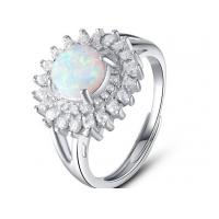 Wholesale White Micro Pave Setting 925 Sterling Silver Opal Ring Luxurious Engagement Rings from china suppliers