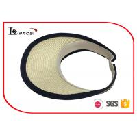 Quality Light weight paper natural visor cap Wide Brimmed Straw Hat with black bound edge for sale