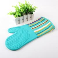Wholesale Half Silicone Half Cotton Heat Insulating Cooking Kitchen Oven Mitts Stripe Pattern from china suppliers