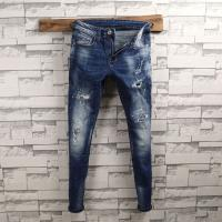 Quality Spandex Wrinkled Mens Slim Fit Tapered Leg Jeans Light Blue Unique Features for sale