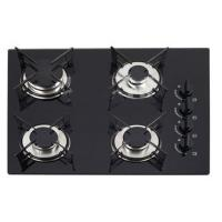 Wholesale Black Tempered Glass Top Gas Hob / 4 Burner Cooktop With Enamel Pan Support from china suppliers