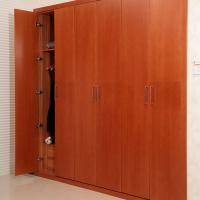Wholesale Wine Red Five Open Hinged Door Wardrobes With Drawer / Clothes Hanger Eco - friendly from china suppliers