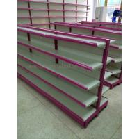 Quality Multi Sizes 4 Levels Metal Gondola Shelving Double Side Display Racks Pink For Retail shop for sale