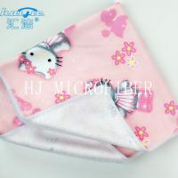 Quality Microfiber Printed Hand Towel Home Use Baby Towel 40*40cm Square Shape Pink Color for sale
