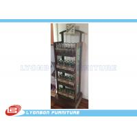 Quality 4 - Shelves Solid Wood Soft Drinking Display Stand With Printing Logo / Metal Wire for sale