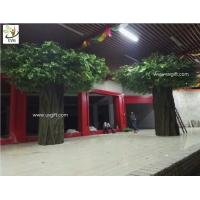 Wholesale UVG green outdoor artificial banyan tree with huge fiberglass trunk for restaurant patio landscaping GRE057 from china suppliers