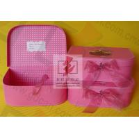 Buy cheap Girls Pink Kraft Paper Jewelry Box Personalized Glossy Lamination from wholesalers
