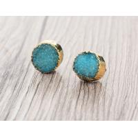 Wholesale Blue Faux Druzy Small Stud Earrings For Druzy Stone Jewelry , Christmas Gift from china suppliers