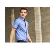 Polyester Cotton Short Sleeves Industrial Work Uniforms Twill Engineer Sky Blue for sale