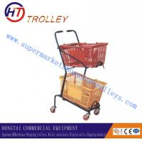 Wholesale Customized Two Basket Grocery Store Shopping Cart With Wheels from china suppliers