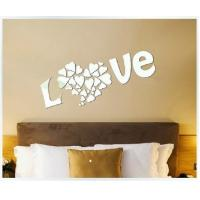 Wholesale Wholesale Bedroom Decorations DIY Decorative Acrylic Love Mirror Silver Wall Stickers from china suppliers