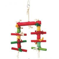 Wholesale colorful bird parrot toy made with safely dyed wooden blocks and beads from china suppliers