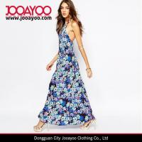 Wholesale Women Beauty Floral Print Halterneck Open Back Silk Maxi Dress With Strap from china suppliers
