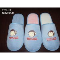 Wholesale Monkey Cartoon Logo Disposable Hotel Slippers Polyester Velour Blue Color from china suppliers