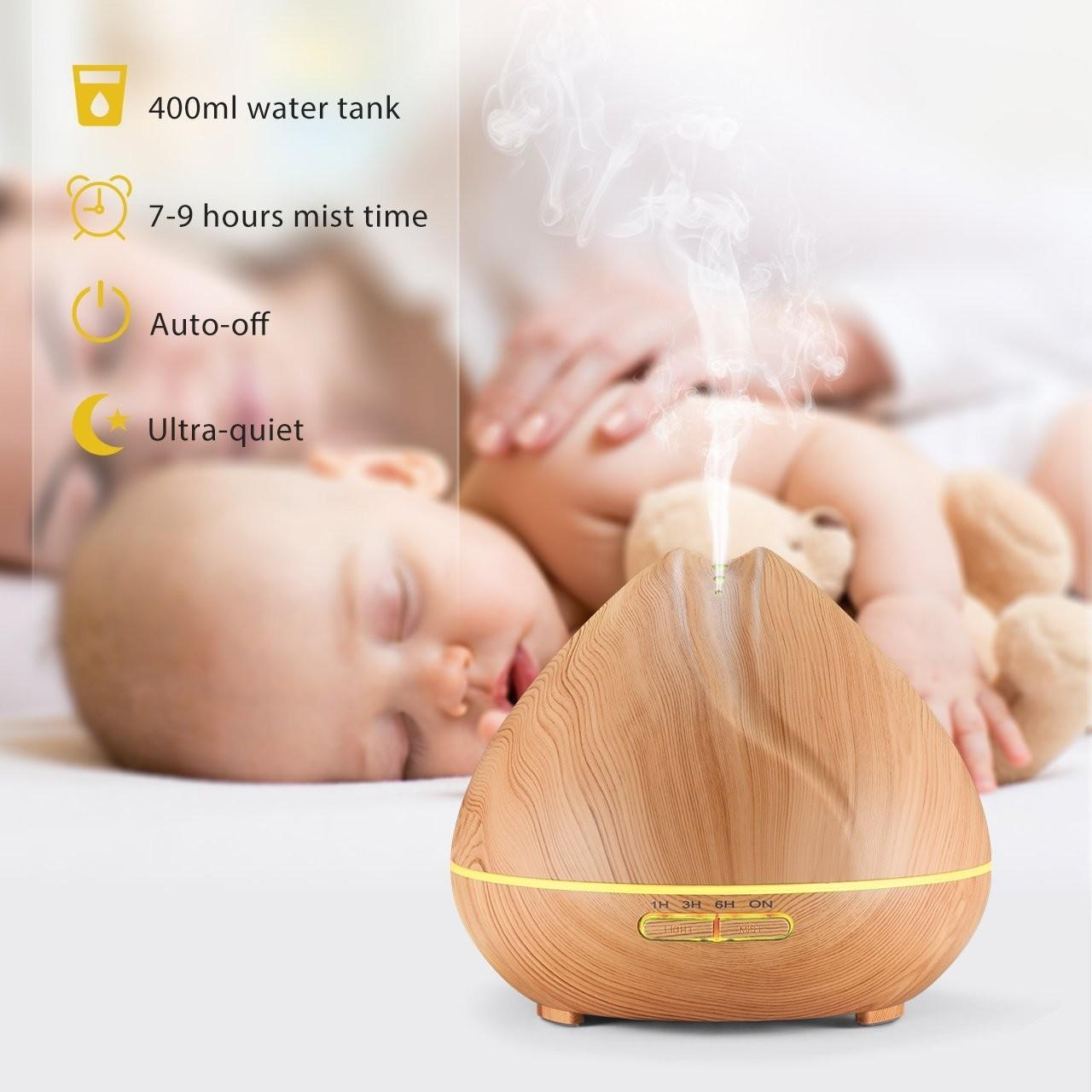 Quality Shark Mouth Design 400ml Ultrasonic Essential Oil Diffuser Wooden Ultrasonic Aromatherapy Diffuser for sale