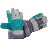 Wholesale Gunn pattern rubberized cuff Leather Work Glove with stripe cotton back  605CBSGR from china suppliers