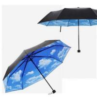 Wholesale 50+ Anti-uv Sun Protection Umbrella Blue Sky 3 Folding Parasols Rain Umbrella from china suppliers