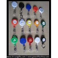 Wholesale Plastic solid round custom-printed badge reels, ID badge retractors from china suppliers