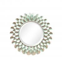 Wholesale Silver finish sunburst flower shape metal frame wall mirror with centre bevelled mirror from china suppliers