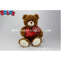 "Wholesale 12""Dark Brown Stuffed Toy Plush Cuddly Bear With Red Ribbon And Heart Pillow from china suppliers"