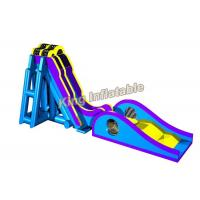 Quality Blue / Yellow Inflatable Water Slide Games Commercial 12 * 4m For Beach for sale