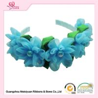 Quality Girls Baby Flower Headbands With Special Chiffon Flowers / Blue Chiffon Flowers Hair Band for sale