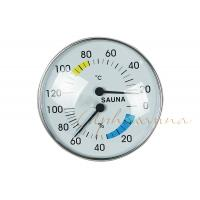 Wholesale Stylish Type Round Chrome Trim Deluxe indoor Thermometer Hygrometer for Sauna from china suppliers